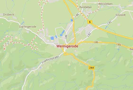 Google Maps Karte - Gebiet um Wernigerode