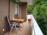 Auf dem großen Balkon können Sie schon in der Morgensonne das Frühstück im Grünen genießen