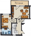Grundriss der Ferienwohnung Nr.1 mit ca. 48 m² Grundfläche.  1 Wohn mit Küchenblock,  1 Schlafzimmer mit Doppelbett   1 Bad, 1 Flur und 1 Terasse