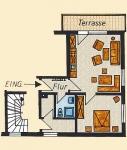Grundriss der Ferienwohnung Nr. 2 mit 55 m² Grundfläche.  1 Wohn- Schlafzimmer mit Küchenblock und Essecke,   1 Schlafzimmer mit Doppelbett,   1 Badezimmer, 1 Flur und 1 Terasse