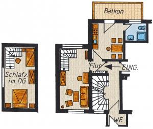Grundriss der Ferienwohnung Nr. 3 mit 60 m² Grundfläche.  1 Wohn- Schlafzimmer,   1 Schlafzimmer mit 3 Betten (1 Doppelbett und 1 Einzelbett),   1 Küche mit Essecke,   1 Bad, 1 Flur und   1 Balkon