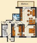 Grundriss der Ferienwohnung Nr. 4 mit 65 m² Grundfläche.  1 Wohn- Schlafzimmer mit Küchenblock und Essecke,   2 Schlafzimmer (mit Doppelbett und 2 Einzelbetten),   1 Bad, 1 Flur und 1 Balkon