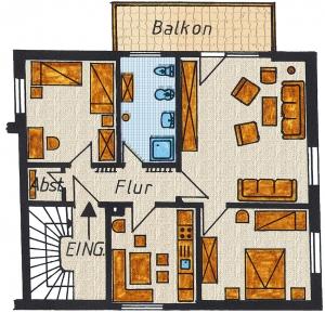 Grundriss der Ferienwohnung Nr. 4 mit 85 m² Grundfläche.  1 Wohn- Schlafzimmer, 2 Schlafzimmer (ein Doppelbett und 2 Einzelbetten),  1 Küche mit Essecke,  1 Bad, 1 Flur, 1 Abstellraum und 1 Balkon.